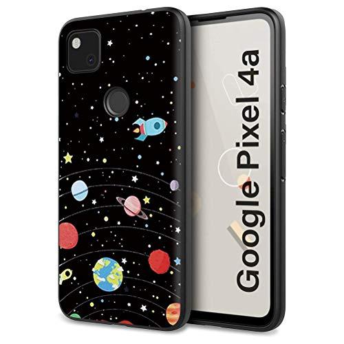 Eouine Schutzhülle für Google Pixel 4a, Silikon, Schwarz mit Muster, ultradünn, stoßfest, weiche Gel-Rückseite, Schutzhülle für Google Pixel 4a Smartphone (Sternenhimmel)