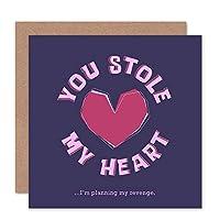 Funny Stolen Heart Revenge Love Valentines Sealed Greeting Card Plus Envelope Blank inside おかしい ハート 愛