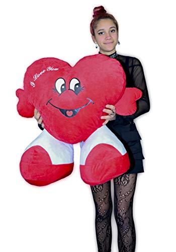 ML Regalo para el Dia d el Padre, Toys Corazón de Peluche, con pies. Te Quiero. de Altura 65 cms. Tiene un Mensaje de 'I Love You' (60)