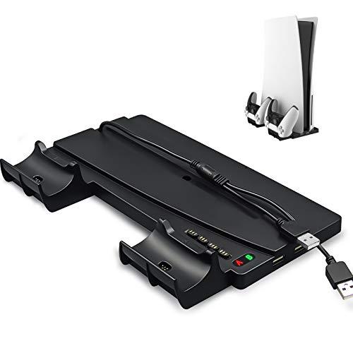 Soporte vertical para Playstation 5 / PS5 con indicador LED, estaciones de llenado de controlador dual, 4 terminales de adaptador de llenado y 2 puertos USB para mando ps5 / PS5 Edición digital