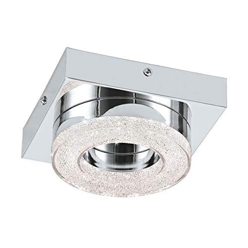 EGLO Lámpara de techo LED Fradelo, 1 foco, moderna lámpara de techo para salón, de metal y plástico en cromo, cristal transparente, lámpara de dormitorio redonda, LED blanco cálido, 14 cm de largo