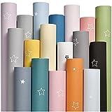 Swinno Papel pintado autoadhesivo sencillo de 60 cm x 300 cm, monocolor, PVC, papel pintado impermeable, cálido, diseño de estrella, para decoración de dormitorio, salón, dormitorio