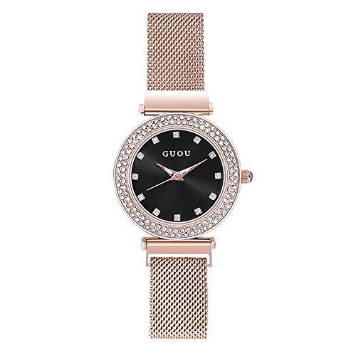 SJXIN kühle stilvolle Uhr, Frau Stern Mode Uhren Legierung Mesh mit Parkett Fliesen Uhren Mode Uhren (Color : 1)