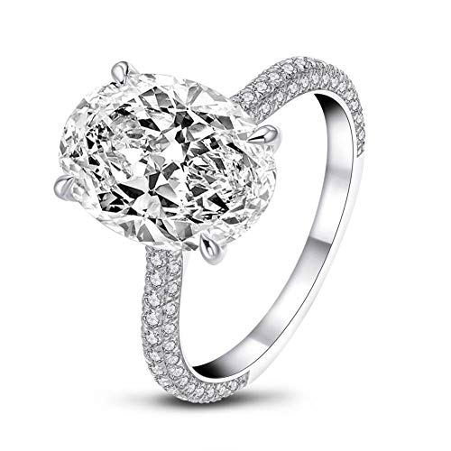 AINUOSHI CZEngagementRings, 925 Silver 5ct Oval Cubic Zirconia Engagement Ring, CZ Rings for Women