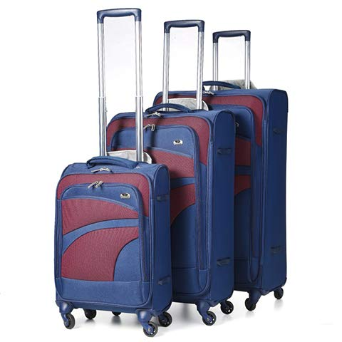 Aerolite Lightweight 4 Wheel 3 Piece Suitcase Luggage Set, Hand Cabin Luggage + Large Hold + XL Extra Large Hold Luggage Suitcase Set, Navy Plum