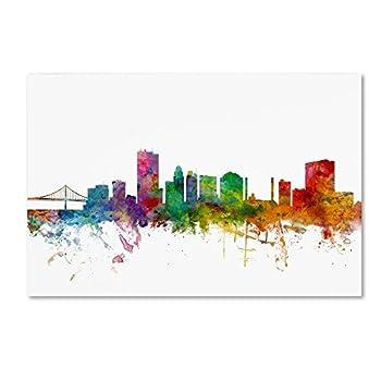 Toledo Ohio Skyline by Michael Tompsett 12x19-Inch Canvas Wall Art