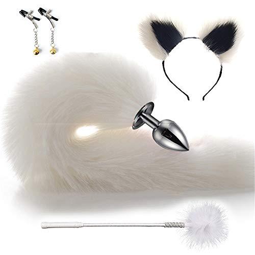 Lindo lobo peludo cola de zorro y orejas de diadema cosquillas pat set fiesta juguete cosplay disfraz 4 piezas kit blanco negro 4 cm