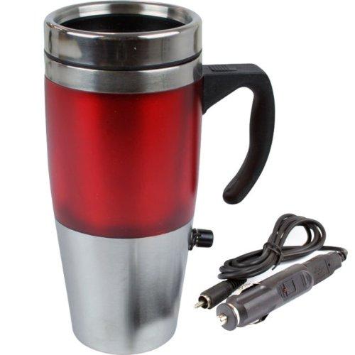 12V Auto USB acier inoxydable chauffé tasse de voyage flacon avec voiture & CHARGEUR USB en rouge couleur