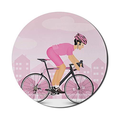 Runde Matte, Fahrrad-Mauspad für Computer, Radfahrer in rosa Jersey und Schutzhelm auf Stadtsilhouette, rundes rutschfestes Gummi-Mousepad mit moderner Basis, blass-lila rosa Mousepad