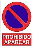 Cartel señal PVC 40 cm x 30 cm Prohibido aparcar estacionar 1 mm espesor