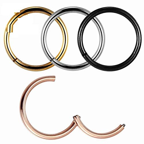 Niaofeces Piercing De Nariz G23Titan Rose Gold Color Septum Rings G23 Titanium Open Small Earrings Mujeres Hombres Ear Nose Piercing Jewelry-1.2_X_10Mm_Colorfull