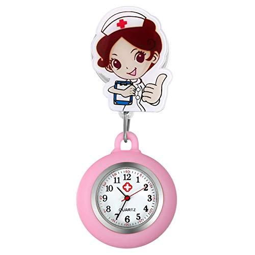 Relojes de Enfermera retráctiles con Clip para Solapa, médicos, clínicas, túnica, Estetoscopio, Insignia de Silicona, Reloj de Lactancia para niñas (Rosa)
