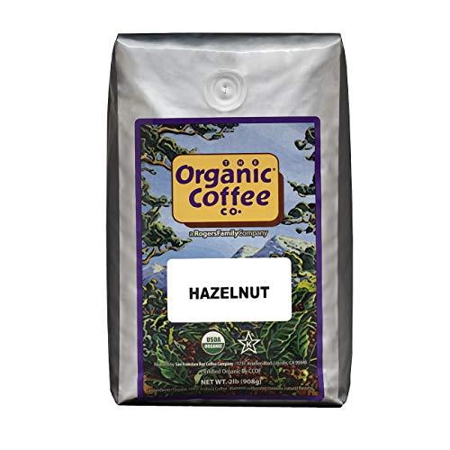 Organic Coffee Co. Hazelnut Whole Bean Coffee 2LB (32 Ounce) Flavored Medium-Light Roast USDA Organic