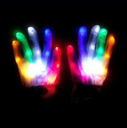 Uchic 1 paires/2pcs lumière LED clignotante Gants doigt Moufles Vacances Festival Fun Home Party éclatante pour des performances Props fête Décoration Fournitures
