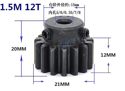 NO LOGO HWW-Gear Stirnrad Ritzel 1.5M 12T 12Teeth Mod 1.5 Breite 12mm Bohrung 5-8mm Rechte Zähne 45# Stahl Hauptzahnrad CNC Zahnstange Getriebe RC Diameter : 6mm