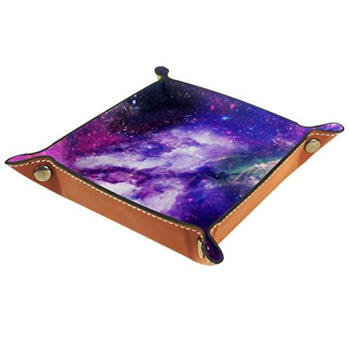 AITAI Valet Tray Veganes Leder Nachttisch Organizer Schreibtisch Ablageteller Catchall Glow Galaxy Textur Space Wallpaper