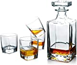 ZXL Whisky Crystal Set Vasos Whisky Botella de Whisky con 4 Vasos Whisky con Tapa hermética, con Soporte de Madera, D
