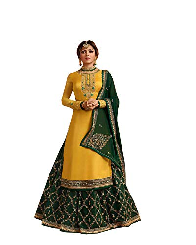 New Indian/Pakistani Eid Special Party/Ethnic wear Georgette Straight Ghagra Style Salwar for Womens (Yellow, LARGE-42)
