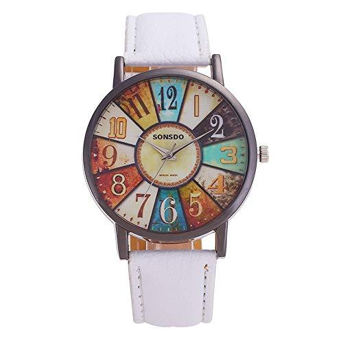 XIALINR Relojes de Movimiento de Cuarzo para Mujeres, Reloj de Cuarzo para Mujer, Personalidad Retro Turnatible Digital PU Correa de Cuero de Cuero de la Correa de Cuarzo Reloj Reloj de Moda