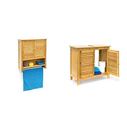 Relaxdays Hängeschrank LAMELL Bambus &  Waschbeckenunterschrank LAMELL aus Bambus