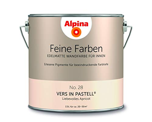 Alpina 2,5 L. Feine Farben, Farbwahl, Edelmatte Wandfarbe für Innen (No.28 Vers in Pastell - Liebevo