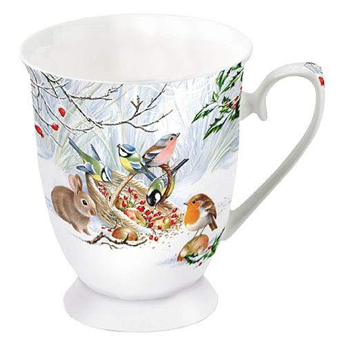 Ambiente Porzellan Becher ca. 250ml für Kaffee oder tee Herbst winter weihnachten Winter Treat Rotkehlchen
