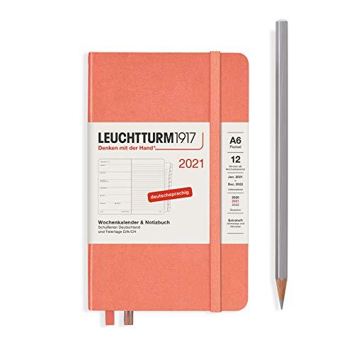 LEUCHTTURM1917 361834 Wochenkalender & Notizbuch 2021 Hardcover Pocket (A6), 12 Monate, Bellini, Deutsch