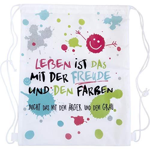 Happy Life 45361 Turnbeutel, Das Leben ist Das mit der Freude, 42 cm x 34 cm, mit Kordel-Verschluss, Bunt