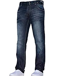 Mens Designer Dark Wash Denim Jeans From Crosshatch Button Up Fly And Fastening - Straight Cut - Free Belt Two Slanted Crinkled Front Pockets With Coin Pocket Two Back Pockets With Embossed Crosshatch Branding Contrast Stitching Detailing To Waistban...