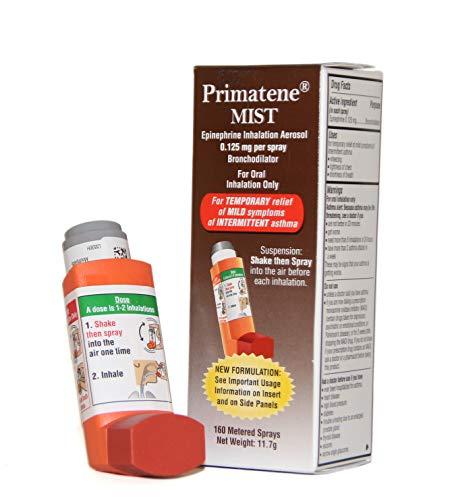Primatene Mist Epinephrine Inhalation Aerosol 160 Metered Sprays Over-The-Counter Asthma Inhaler