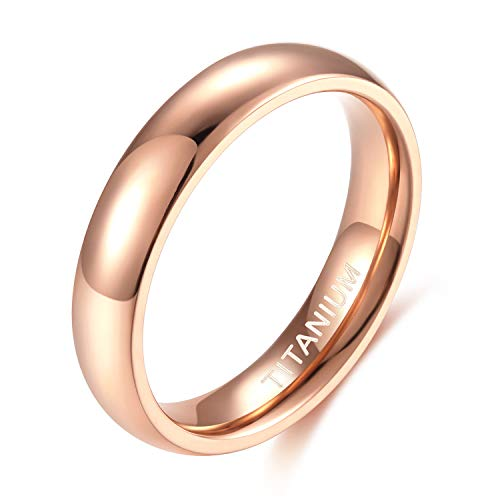 TIGRADE 2mm 4mm Titanium Ring Blue Plain Dome High Polished Wedding Band Comfort Fit Size 4-12 (4mm Rose Gold, 6)