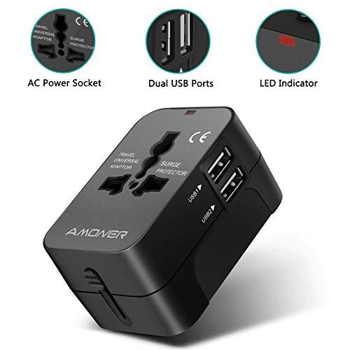 Amoner Universal Reiseadapter - Stromadapter Stecker für Europa UK Australien USA China - Universeller Weltreise Reisestecker (Schwarz) …