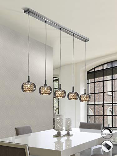 Schuller Ari - Sospensione a soffitto in cristallo dimmerabile a 5 luci con telecomando Cromo, specchio, G9