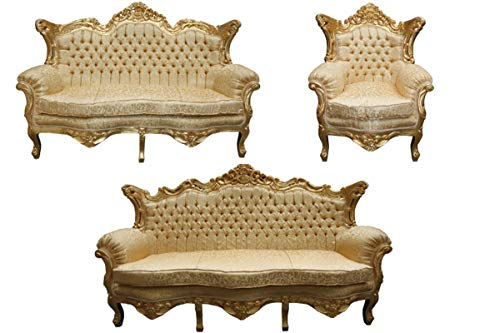 Casa Padrino Baroque Living Room Set Gold Pattern/Gold - 3 Seater +2 Seater Sofa + 1 Chair
