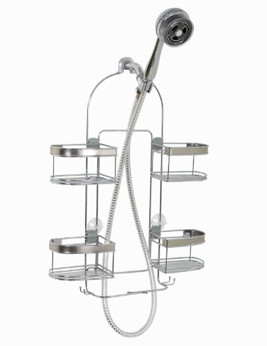 Zenna Home Expanding Shower Caddy, Rust-Resistant, Chrome with Brushed Accents