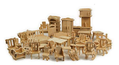 Crystalbella Toy 1SET=34PCS Wooden Doll House Dollhouse Furnitures DIY Accessories Set