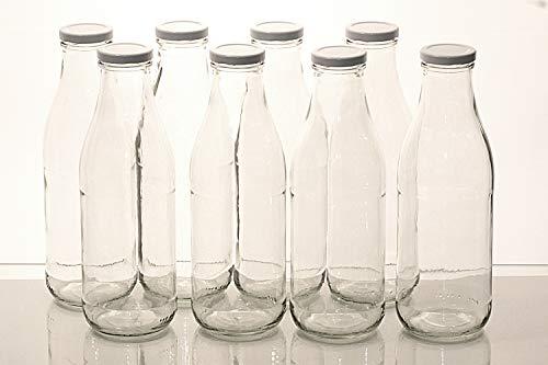 Flaschenbauer - 8 Leere Glasflaschen 1l inkl. Twist-Off-Schraubdeckeln TO48 in weiß - Glasflasche 1 Liter (Weithalsflasche) geeignet als Milchflasche 1l, Saftflasche, Smoothie Flasche