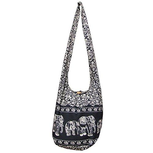 Panasiam© Bolso bandolera, 2 tamaños, diseños modernos y muchos colores, con material interior extra y bolsillo interior para móvil, calidad de primera negro 52