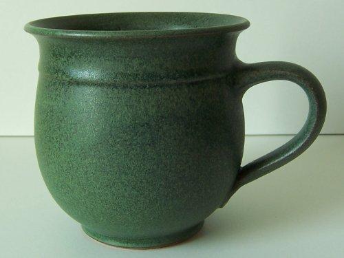 Töpferei Annett Fischer T6 Tasse handgetöpfert Tasse grün Durchmesser 10 cm