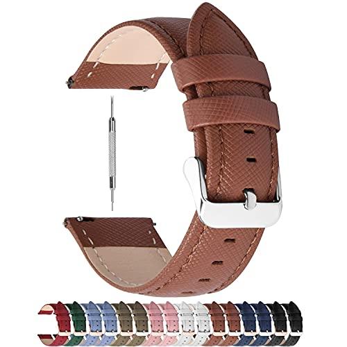 Fullmosa Correa de Reloj, Serie Cross Correas de Repuesto para Reloj de Cuero Genuino Correa de Reloj Inteligente, 22 mm, Marrón + Hebilla de Plata