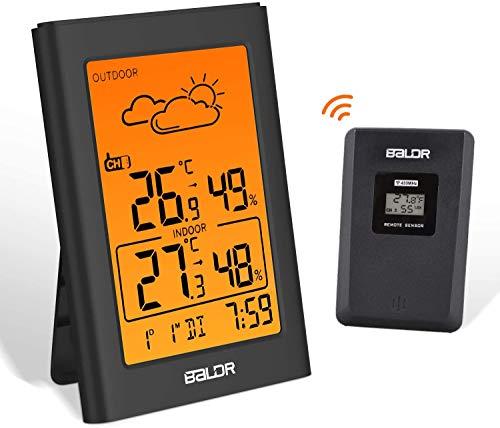 BALDR Wetterstation Funk mit Außensensor, Digital Thermometer Hygrometer Innen und Außen Raumthermometer Hydrometer Feuchtigkeit mit Wettervorhersage, Uhrzeitanzeige, Wecker und Nachtlicht (Schwarz-1)
