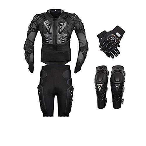 AKAUFENG Motorrad Protektorenjacke mit Getriebe Kurzen Hosen + Knieprotektoren + Handschuhe Protektorenhemd Motorrad S-5XL