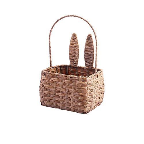Not application Cesta de picnic con orejas de conejo tejida para frutas y frutas, cesta de almacenamiento portátil tejida a mano
