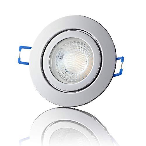lambado® Premium LED Spot IP44 Chrom - Hell & Sparsam inkl. 230V 5W GU10 Strahler neutralweiß - Moderne Beleuchtung durch zeitlose Bad-Einbaustrahler/Deckenstrahler für Außen