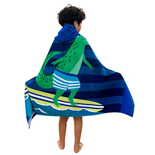 Muium(TM) Toalla con capucha para niños, toalla de playa, albornoz, toalla de baño para niñas y jóvenes, de algodón, toalla deportiva para bebé, poncho de baño D Talla única