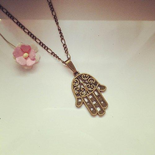 Lange Kette Hamsa Hand Bronze, Hand der Fatima / beschützende Hand / vintage / ethno / hippie / must have / statement / florabella schmuck