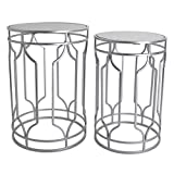 Round End Table Set - Silver End Tables with Mirrored Tops - Nesting Round Accent Tables - Silver and Mirrored Metal Side Tables - Rutledge & King Alexander End Table Set