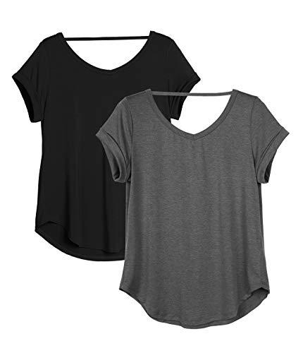 icyzone Damen Rückenfrei Yoga T-Shirt Kurzarm Sport Freizeit Tops Lose lässiges V-Ausschnitt Shirt, 2er Pack (M, Schwarz/Dunkelgrau)