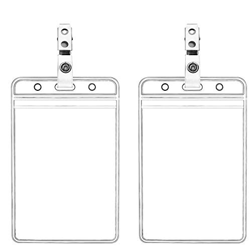 Waterproof Vertical ID Badge Holder Vertical Clear PVC Name Holder Tags with Badge Clip Straps (2 Pack,Vertical )