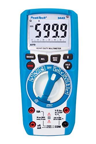 PeakTech 3443 – Digital Multimeter mit LED-Lampe, Wasserdicht (IP67), 6000 Counts, Extrem Robustes Gehäuse, Handmultimeter, Spannungsmesser, Durchgangsprüfer, Messung, Messgerät - CAT III 1000 V
